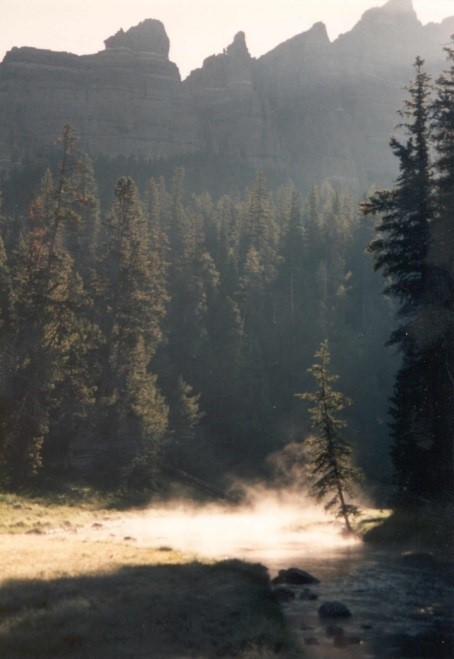 fog rising over a river in Wyoming